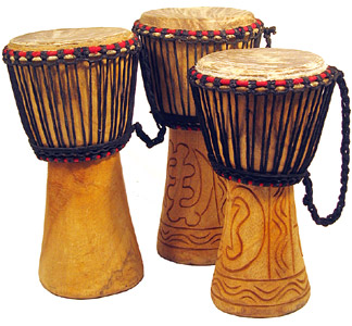 Djembe drums by Atlas and Bucara