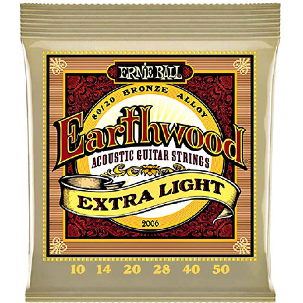 Ernie Ball Earthwood Guitar Strings Bronze, Ex Ligh