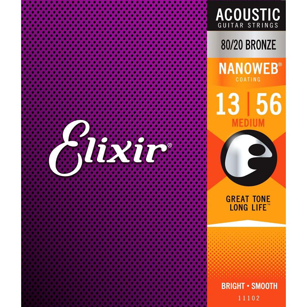 Elixir NanoWeb Guitar Set, Medium, Bronze