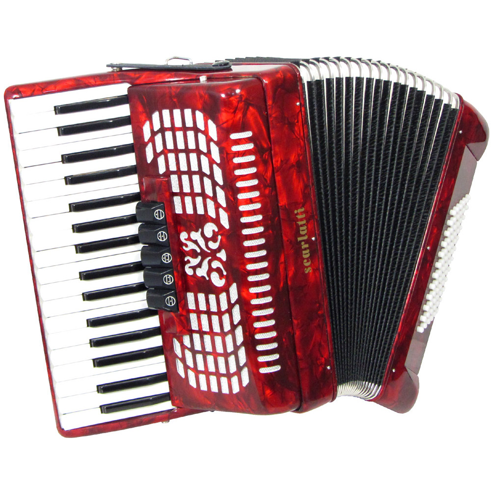 Scarlatti Piano Accordion, 72 Bass. Red