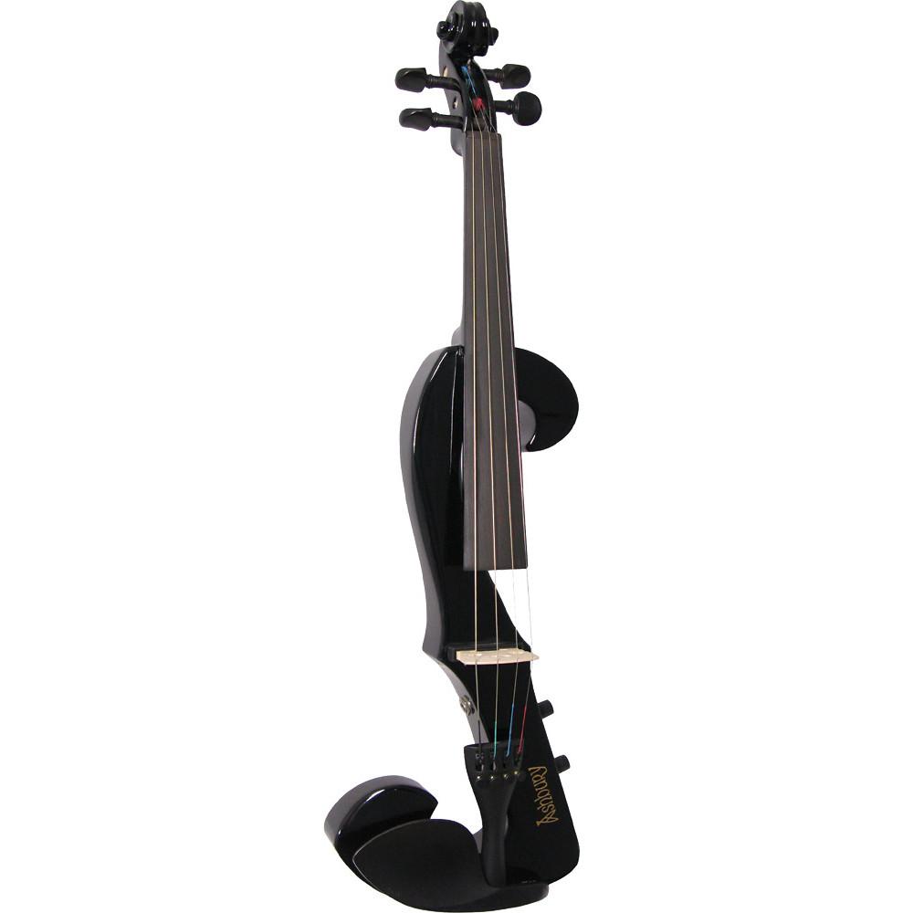 Valentino VE-20 Electric F Shape Violin, Black
