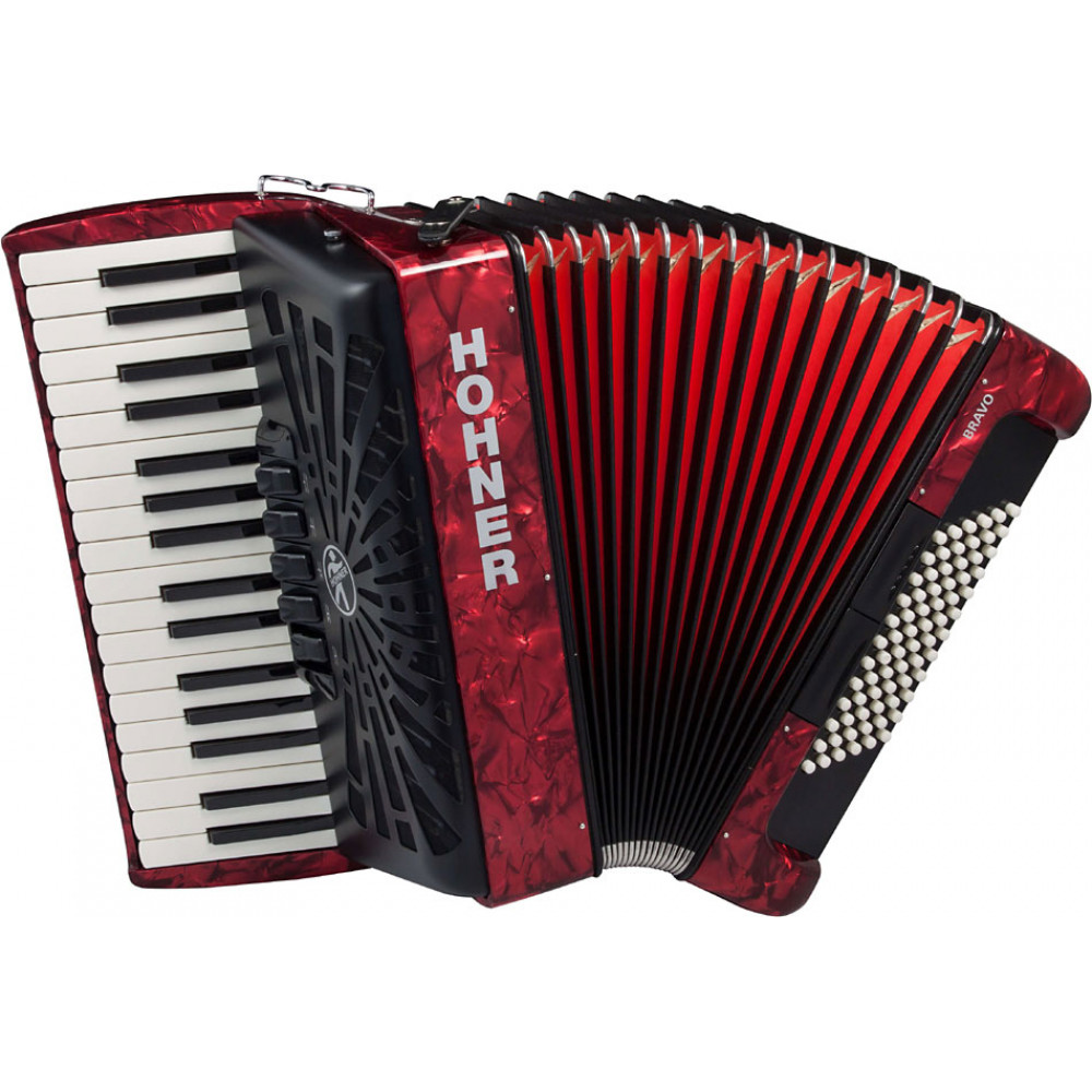 Hohner BRAVO 72 Bass Piano Accordion, Red