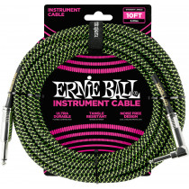 Ernie Ball P06077 10ft Braided Inst Cable. BK/G