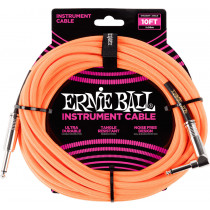Ernie Ball P06079 10ft Braided Inst Cable. N/Or