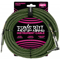 Ernie Ball P06082 18ft Braided Inst Cable. BK/G
