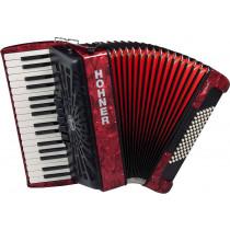 Hohner BRAVO 72 Bass Piano Accordion, Red