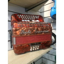 Paolo Soprani C/F melodeon. DeClubbed, 2 and a half row with soft case. VGC, 3 voice 7 coupler. Quite wet tune