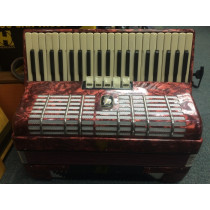Weltmeister 120 Bass piano accordion, red, with case. 3 voice.