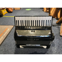 Excelsior 320 accordion, 4 voice, black, tuned LMMH. With treble and bass pickup