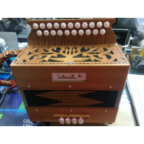 Salterelle 'Le Bouebe' Melodeon D/G, 2 voice, Beautiful condition with straps. 3rd button start 2 voice with a