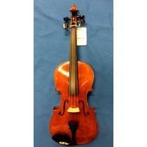 Berlin school German Violin. wide descending curled back, amber varnish.