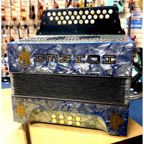 Hohner C/F 2. 5 Row Melodeon in Blue, old and well played in good playing condition, strong sound, complete wit
