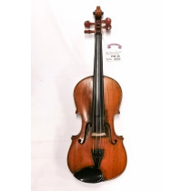 German 4/4 Violin c1900 labelled Maggini, two piece back, medium flame, amber varnish, good condition with bow