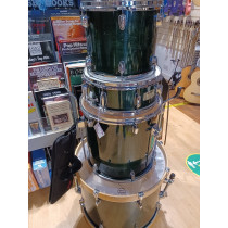 Mapex M Series 4 Piece Drumkit Emerald Grn, H/W, shell cases, no kick. OK cond.