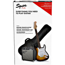 Squier Pack Stratocaster Guitar Pack, Brown