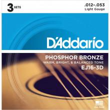 D\'Addario EJ16-3D Acoustic Guitar Strings, 3 Set