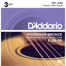 D'Addario EJ26-3D Acoustic Guitar Strings, 3 Set