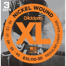 D'Addario EXL110-3D Electric Guitar Strings. 3 Set