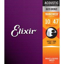 Elixir NanoWeb Guitar Set, Ex Light. Bronze