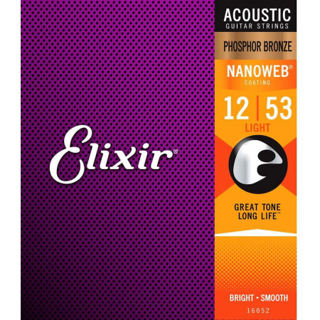 Elixir NanoWeb Guitar Set, Light.Medium.Ph/Bz