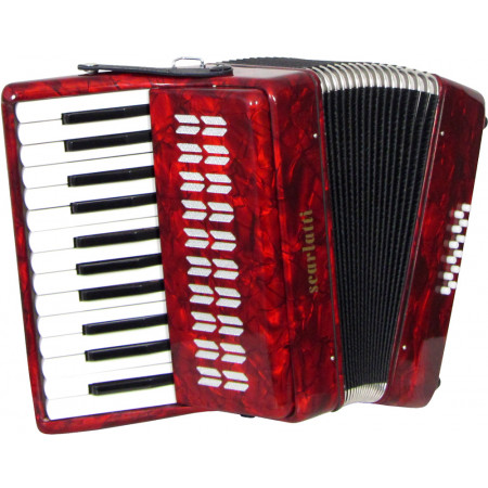 Scarlatti Piano Accordion, 12 Bass. Red