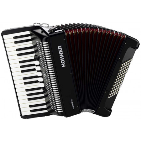 Hohner BRAVO 72 Bass Piano Accordion, Black