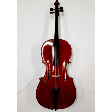 Mid 20th Century 4/4 Hungarian Cello, dark red varnish, excellent condition complete with gig bag